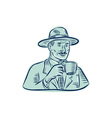 Man Fedora Hat Drinking Coffee Etching vector image vector image