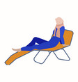 muslim woman on a deck chair fashion hijab vector image