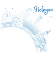 Outline Bologna Skyline with Blue Landmarks vector image vector image
