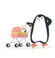 penguin with bapenguin carriage vector image vector image