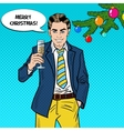 Pop Art Businessman with Champagne Glass vector image