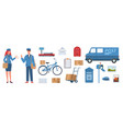 postman characters woman and man in mailman vector image vector image