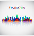 pyongyang skyline silhouette in colorful vector image vector image