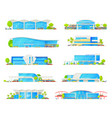railway station train and railroad platform icons vector image