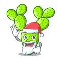santa cartoon the prickly pear opuntia cactus vector image