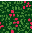 seamless dark green pattern with berries vector image vector image