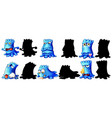set blue monster with its silhouette on white vector image vector image