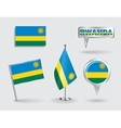 Set of Rwandan pin icon and map pointer flags vector image