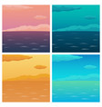 set of sea background with waves and clouds vector image