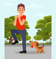 small angry dog barking at man young guy in vector image vector image