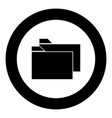 two folder black icon in circle vector image vector image