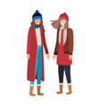 women with winter clothes avatar character vector image