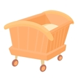 Wooden baby cot icon cartoon style vector image vector image