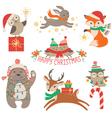 Cute Christmas animals vector image