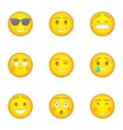 Emoji character icons set cartoon style vector image