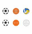 soccer basketball and volleyball balls set vector image