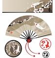 Japanese fan set vector image