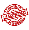 3rd anniversary round red grunge stamp vector image vector image