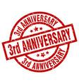 3rd anniversary round red grunge stamp