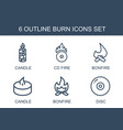 6 burn icons vector image vector image