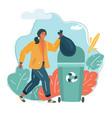 a woman throws trash vector image vector image