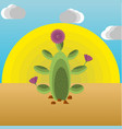 an extractive cactus in the desert vector image
