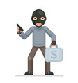 armed robbery stole money suitcase evil greedily vector image vector image