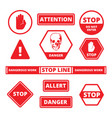 attention stop signs danger alerts traffic vector image