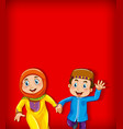 background template design with two muslim kids vector image vector image