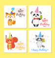birthday greeting cards set vector image vector image