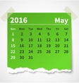 Calendar may 2016 colorful torn paper vector image vector image