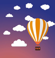 Cartoon Retro Air Balloon On Night Sky Background vector image
