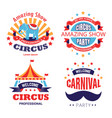 circus show and carnival party isolated icons vector image vector image