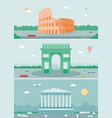 cities skylines design with landmarks rome paris vector image vector image