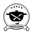 cooking school emblem pretty vector image