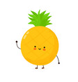 cute funny pineapple fruit character hand vector image vector image