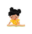 cute little girl sitting on the floor and reading vector image vector image