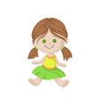 cute soft doll with brown hair and button eyes vector image
