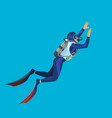 deep sea diver with equipment on vector image vector image