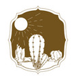 desert cactus on vintage frame vector image vector image