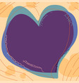 draw heart card with drawing line with bright vector image vector image