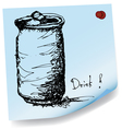 drawing of soda can on sticky paper vector image vector image
