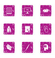 educational resource icons set grunge style vector image vector image