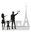 family in Paris vector image
