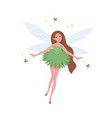 flying fairy in beautiful dress and with long vector image