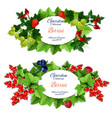 garden berries icons with fruits banners vector image