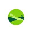 green landscape nature village logo vector image