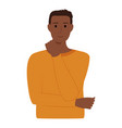 handsome dark skinned man on white background vector image