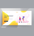 happy couple roller skating website landing page vector image vector image