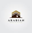 kaaba logo islamic symbol design vector image vector image